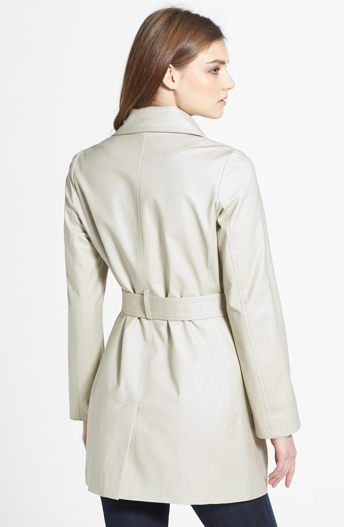 Alternate Image 2  - Kristen Blake Piped Stretch Cotton Trench Coat (Regular & Petite)