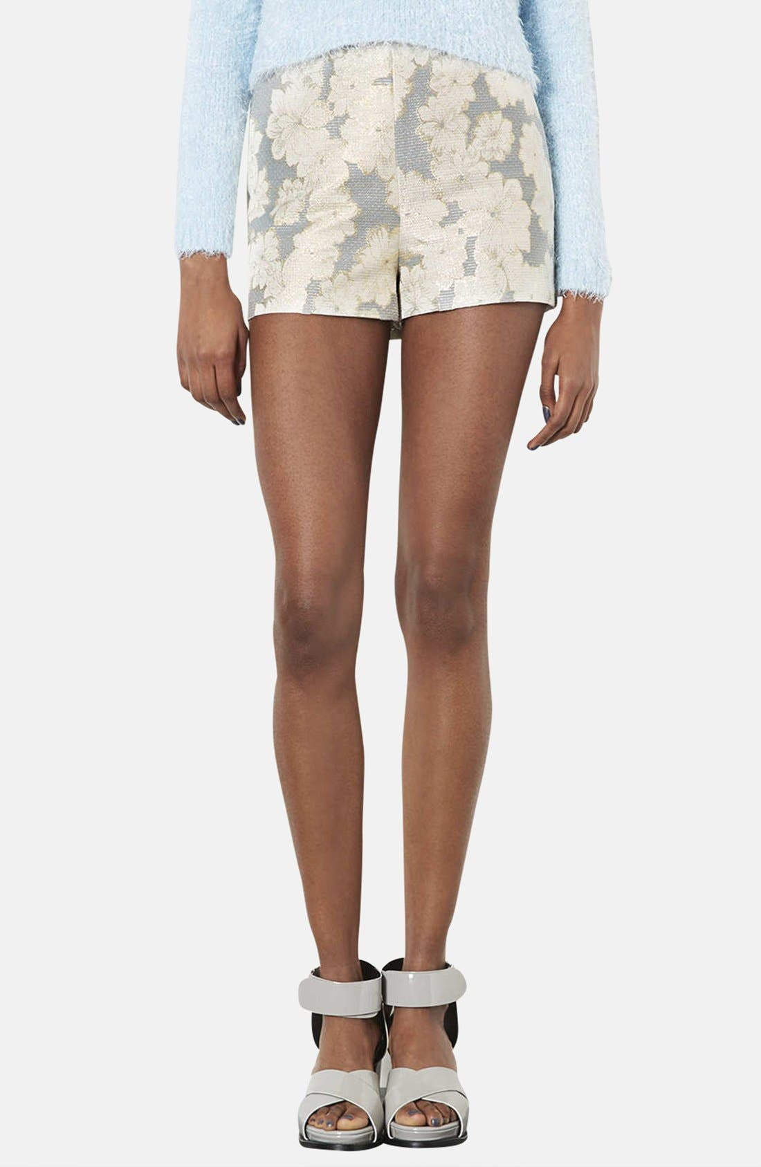 Main Image - Topshop Metallic Floral Jacquard High Rise Shorts