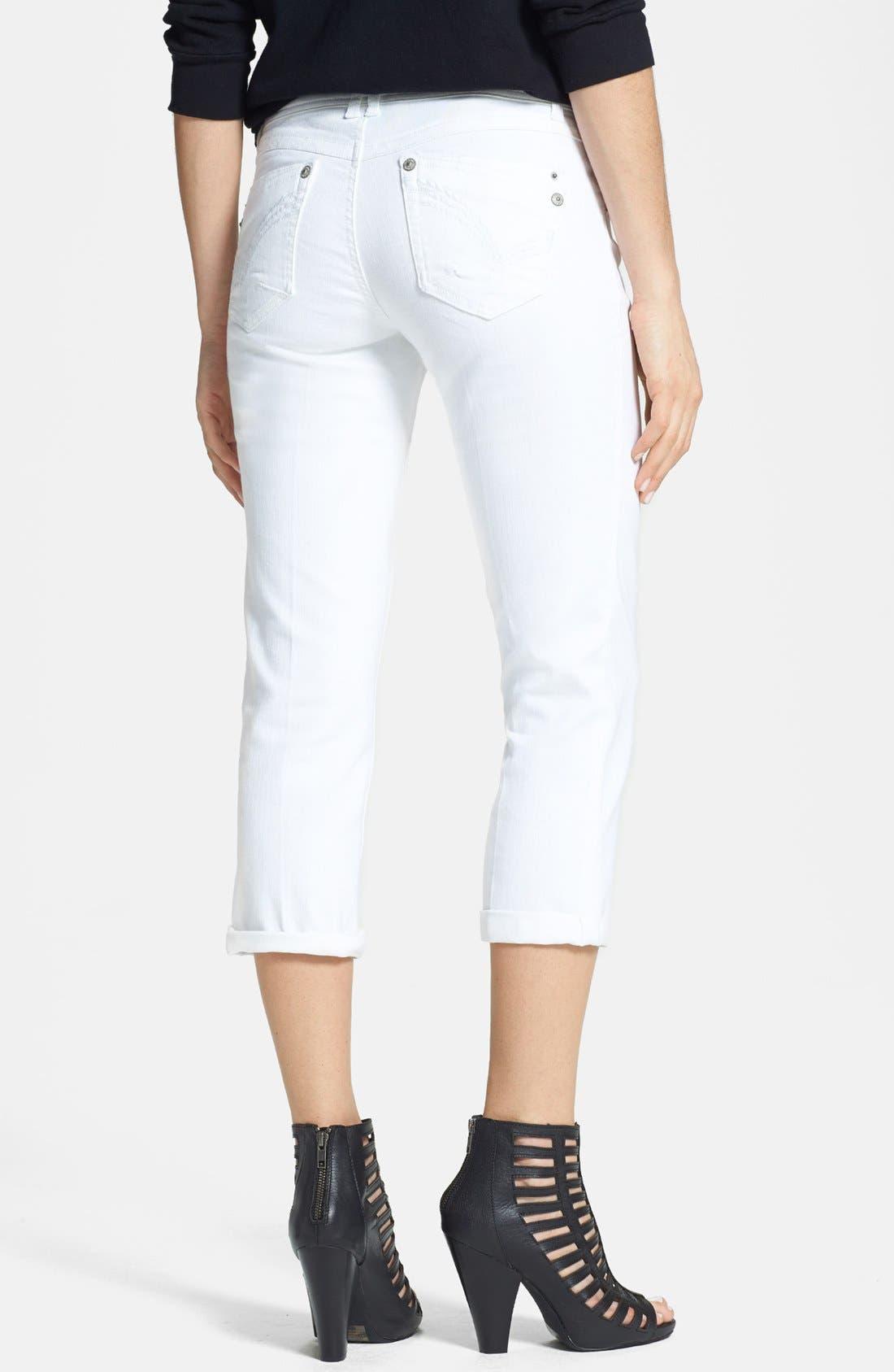 Alternate Image 2  - Jolt Crop Jeans (White) (Juniors) (Online Only)
