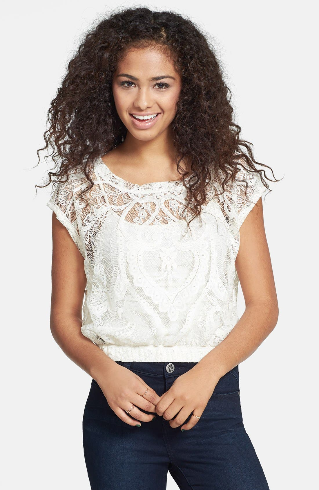 Main Image - Love on a Hanger Lace Crop Top (Juniors)