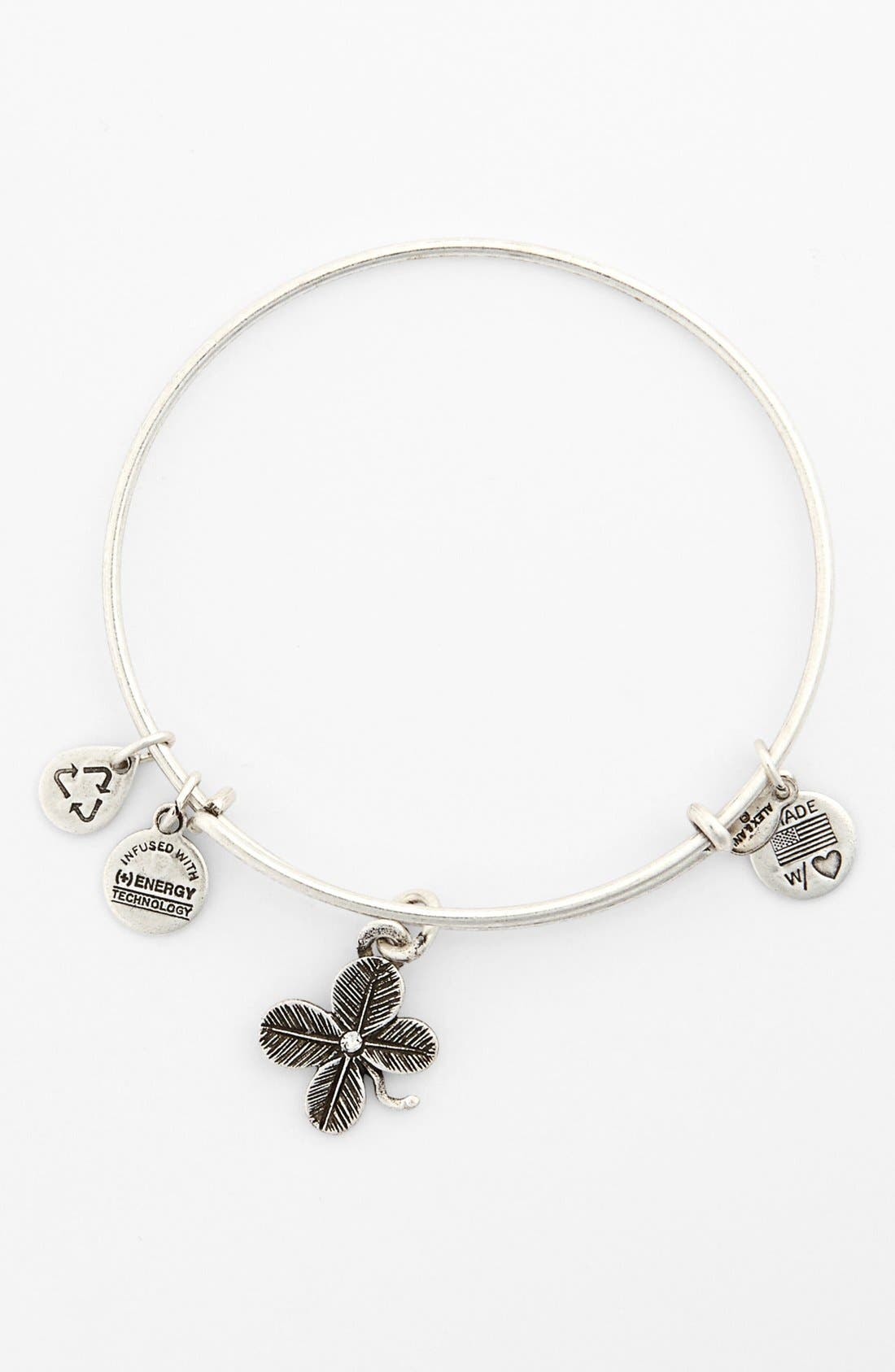Main Image - Alex and Ani 'Lucky Clover' Expandable Wire Bangle