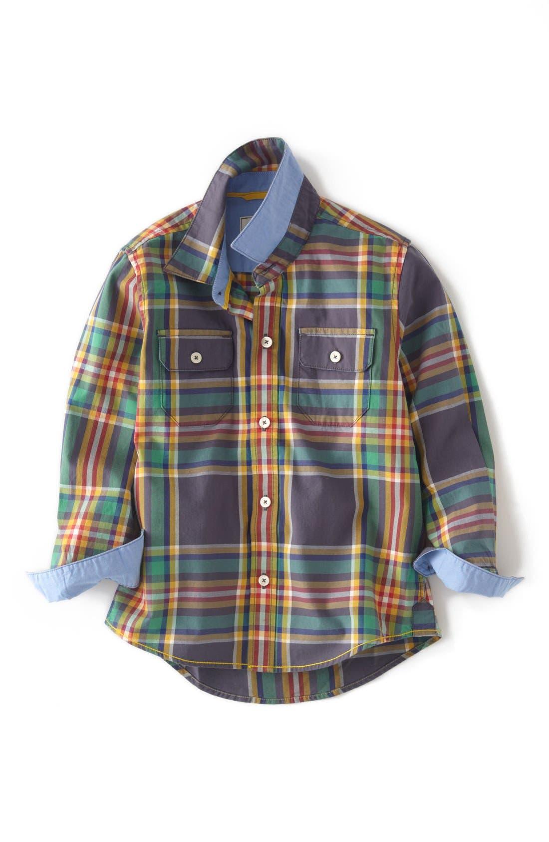 Alternate Image 1 Selected - Mini Boden Long Sleeve Sport Shirt (Toddler Boys, Little Boys & Big Boys)