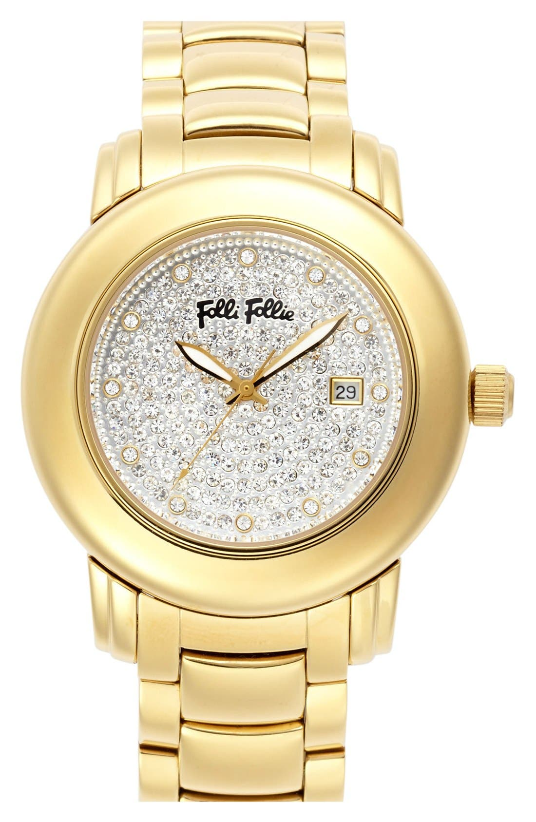 Alternate Image 1 Selected - Folli Follie 'Urban Spin' Crystal Dial Bracelet Watch, 43mm