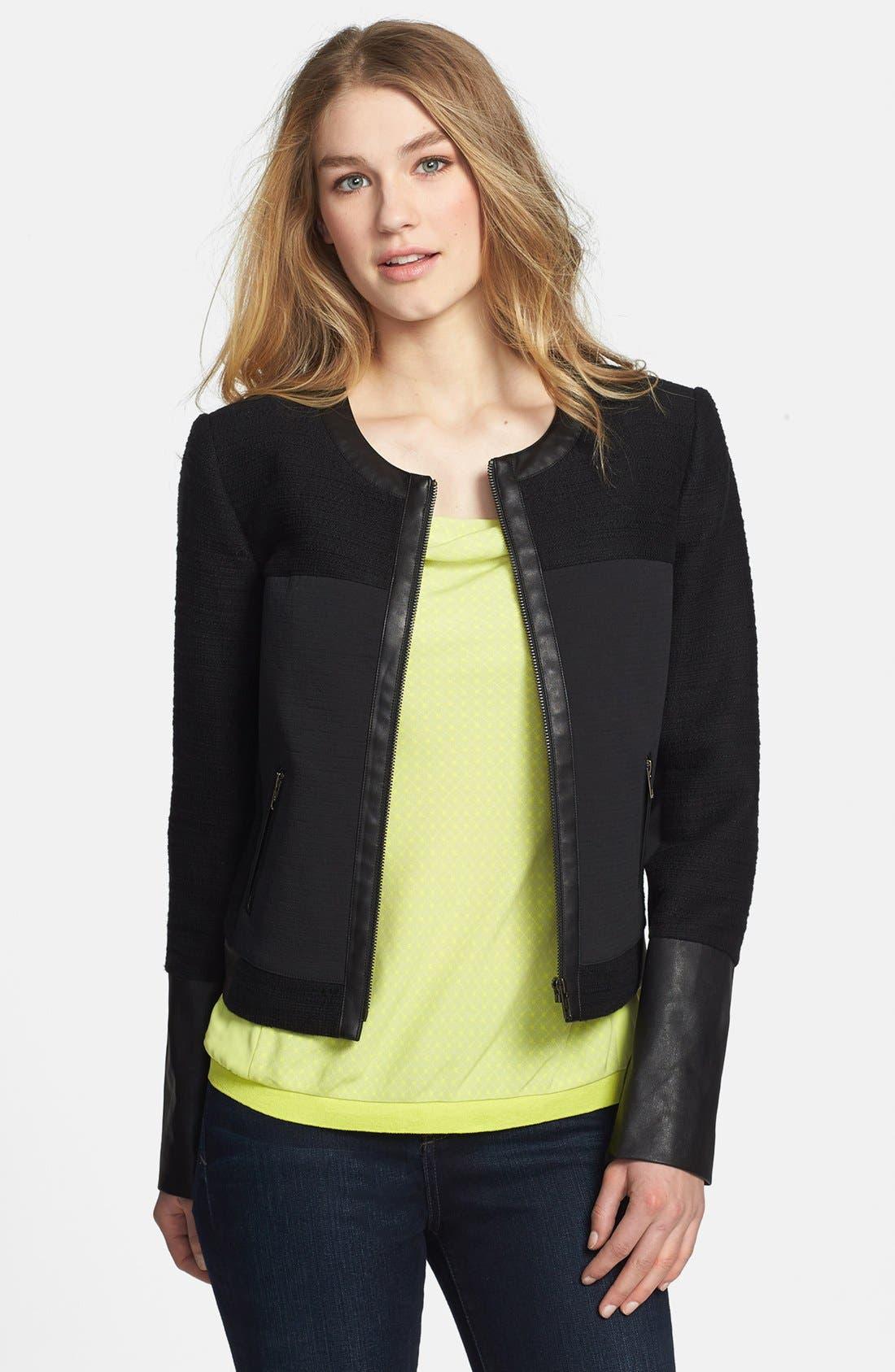 Main Image - Halogen® Mixed Media Zip Jacket