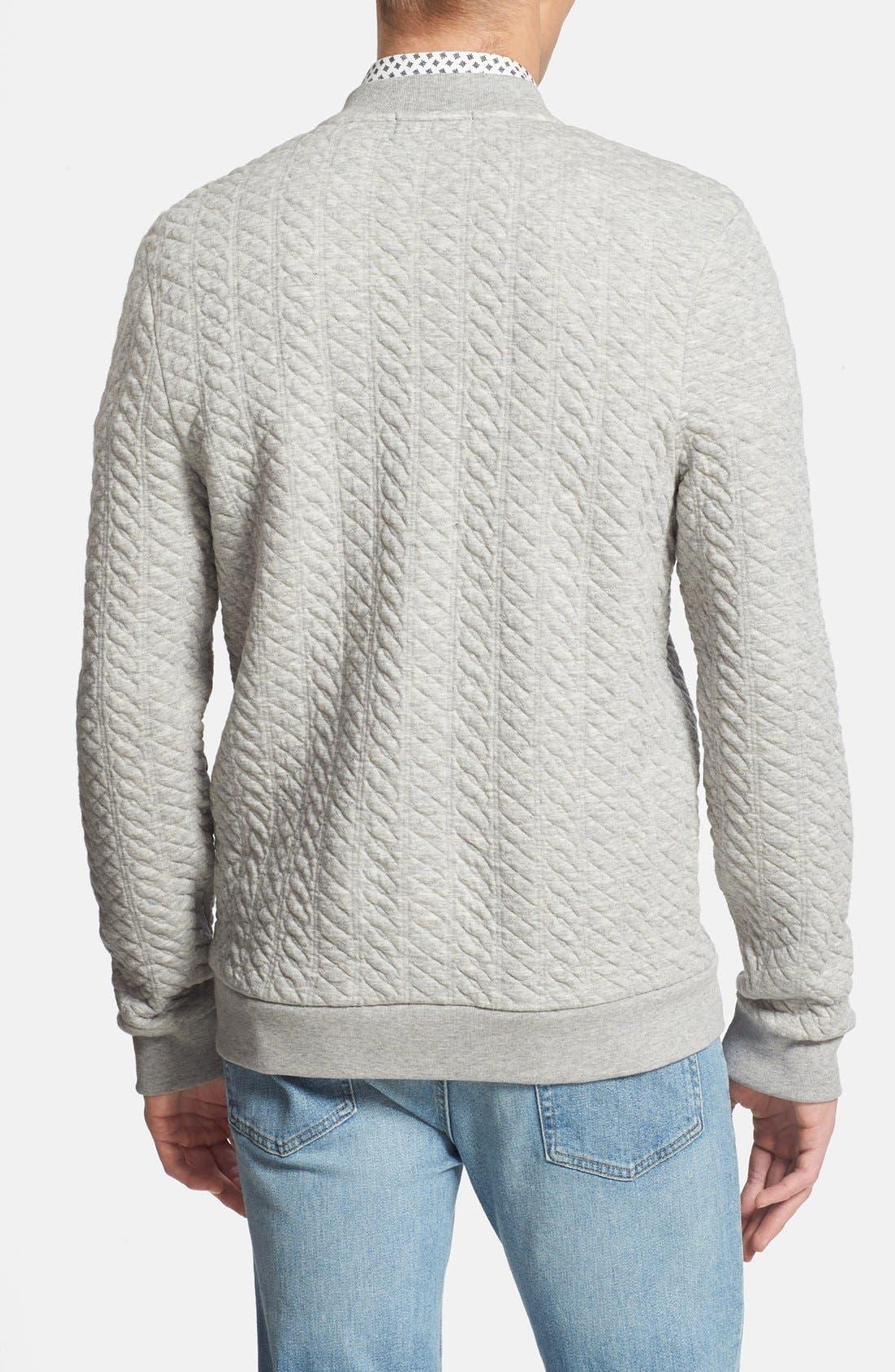 Alternate Image 2  - Topman Mini Cable Jersey Zip Sweatshirt