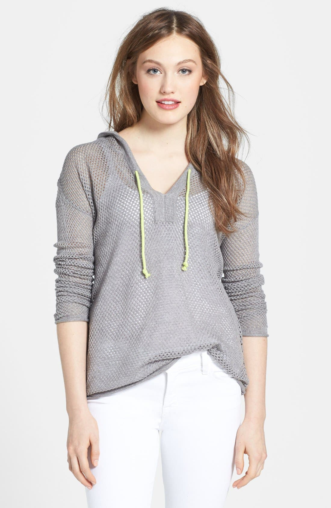 Alternate Image 1 Selected - Sweet Romeo 'Ava' Hooded Open Stitch Sweater