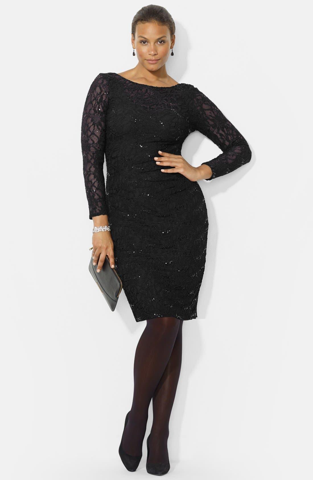 Main Image - Lauren Ralph Lauren Sequin Lace Sheath Dress (Plus Size)