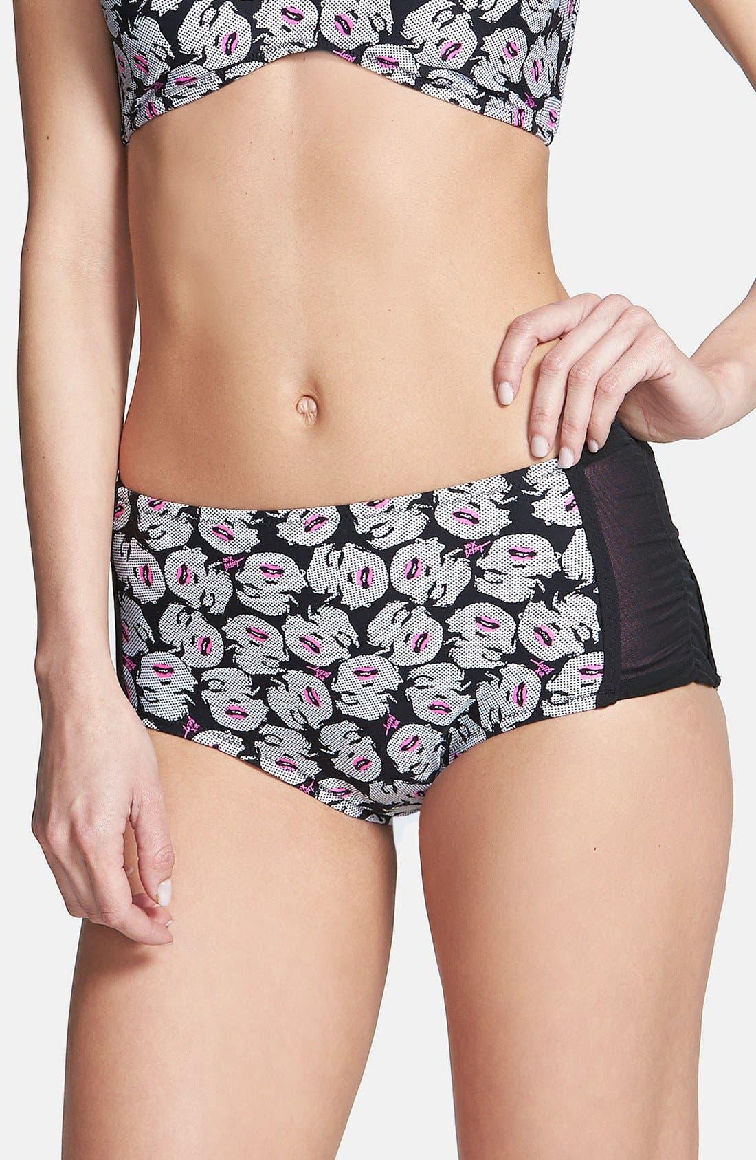 Alternate Image 1 Selected - Betsey Johnson 'Betsey Meets Friend' High Waist Bikini Bottoms