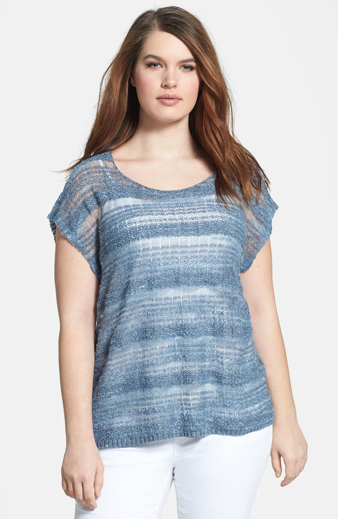 Alternate Image 1 Selected - Eileen Fisher Scoop Neck Linen Blend Boxy Top (Plus Size)