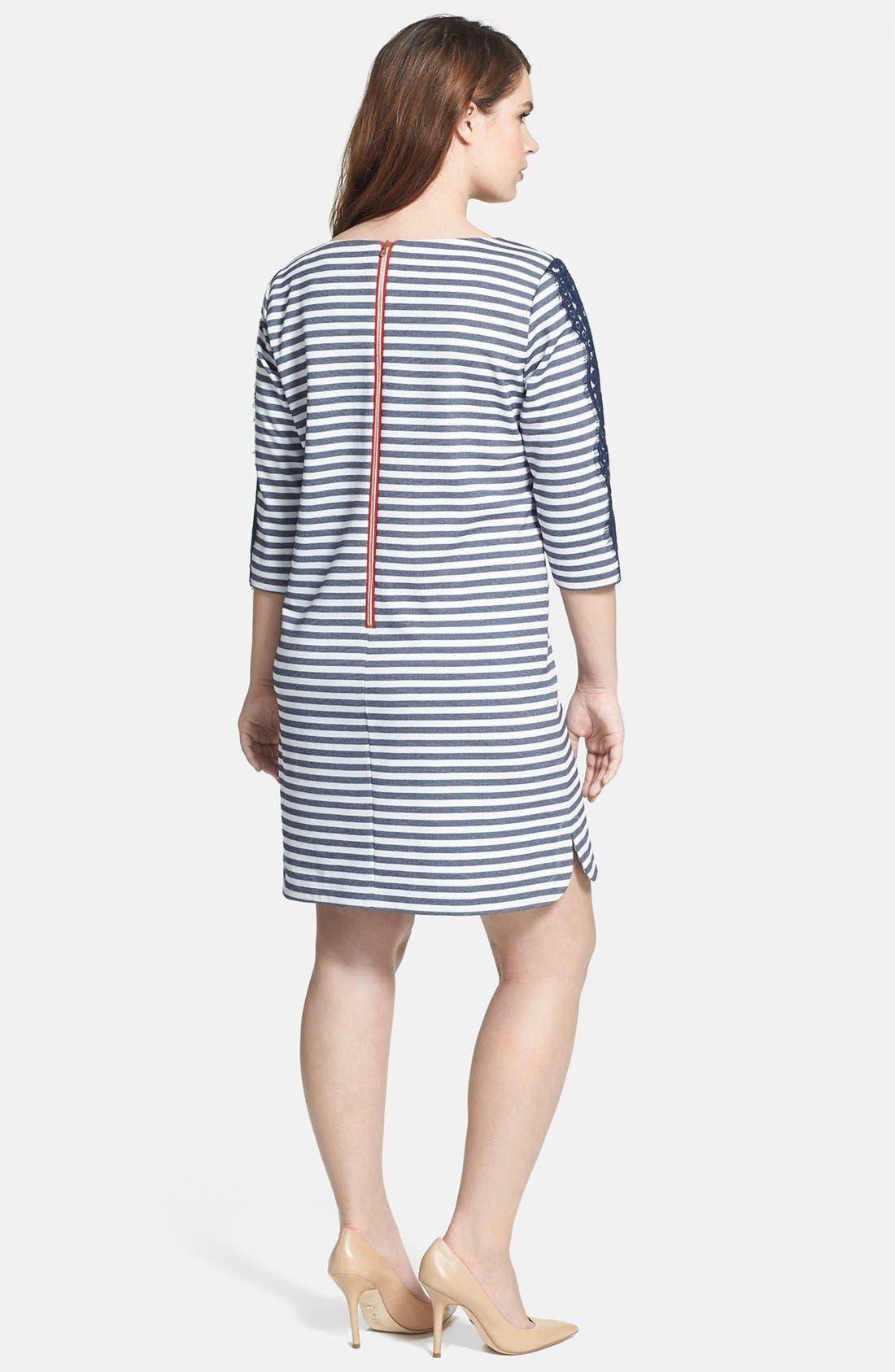 Alternate Image 2  - Eliza J Stripe & Lace Ponte Knit Shift Dress (Plus Size)