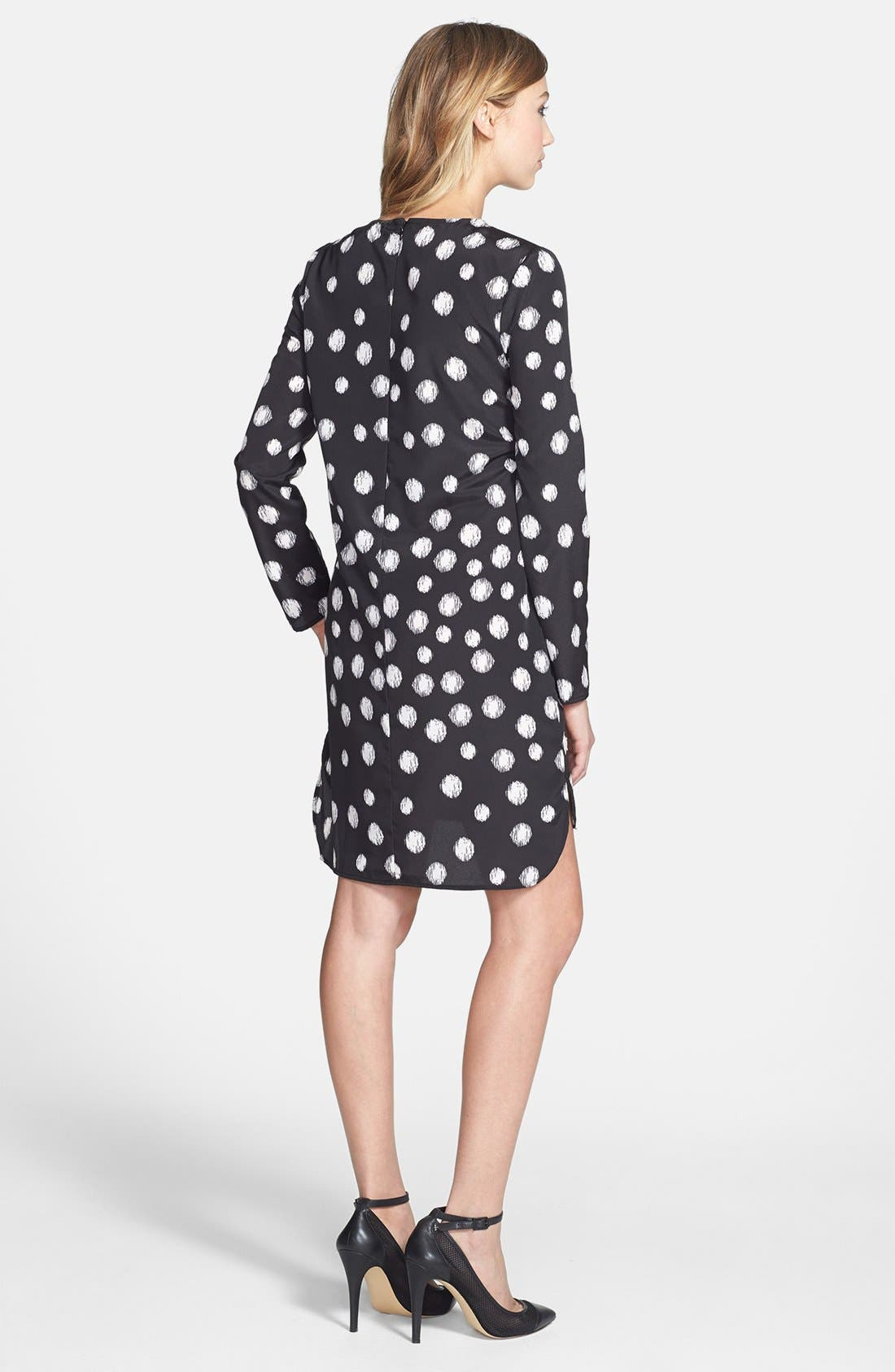 Alternate Image 2  - Wayf Long Sleeve Crepe Shift Dress