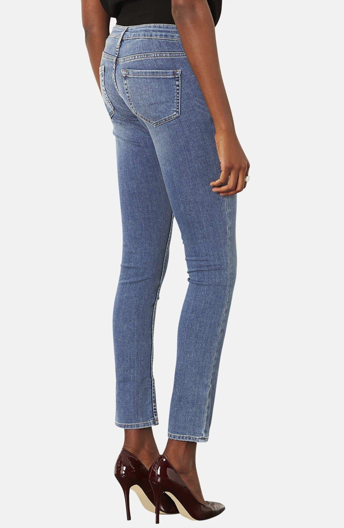 Alternate Image 2  - Topshop Moto 'Vintage Baxter' Skinny Jeans (Mid Stone) (Short)