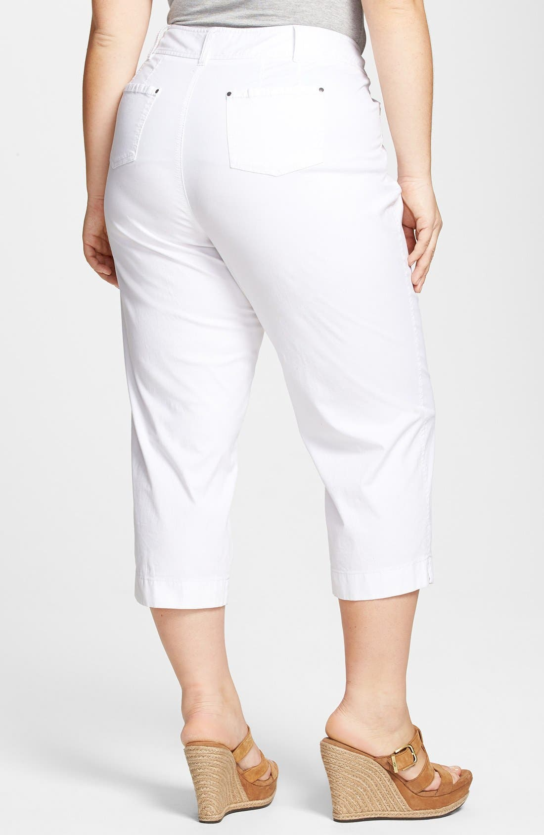 Alternate Image 2  - Sejour 'Megan' Stretch Cotton Crop Pants (Plus Size)
