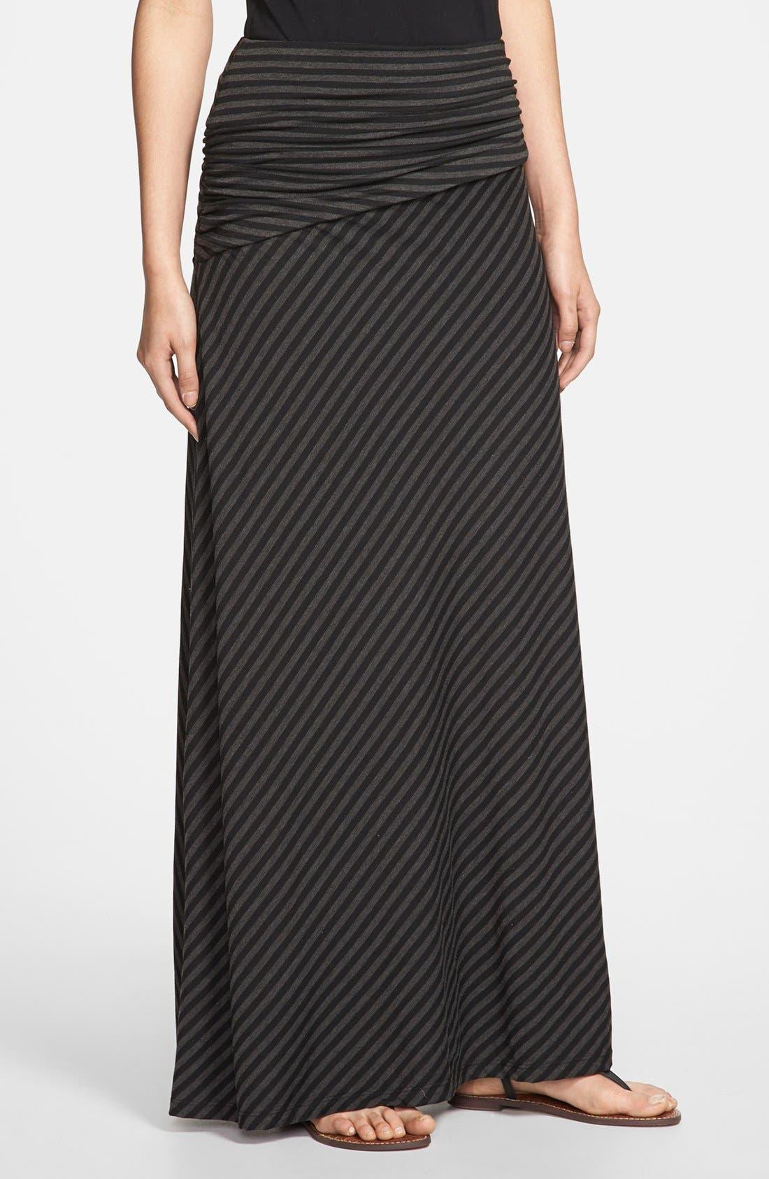 Main Image - Bobeau Long Stripe Skirt (Regular & Petite)