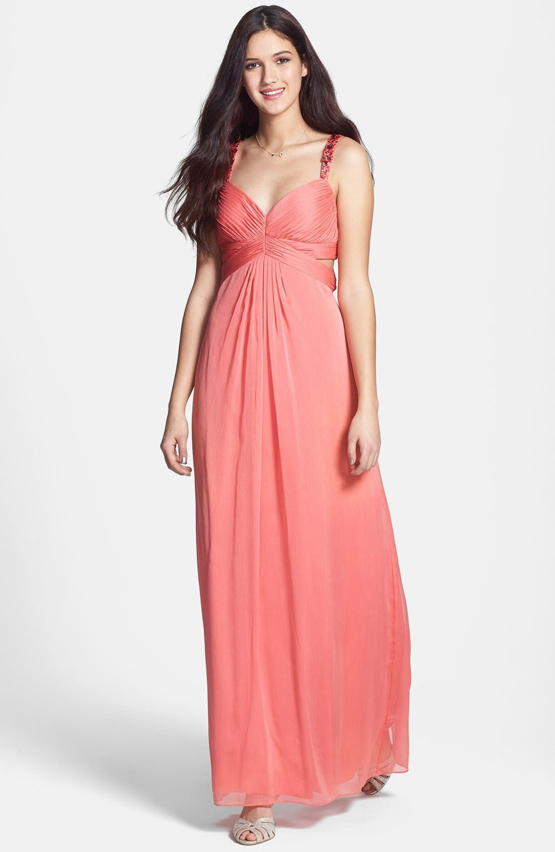 Alternate Image 1 Selected - Aidan by Aidan Mattox Embellished Cutout Crinkled Chiffon Gown