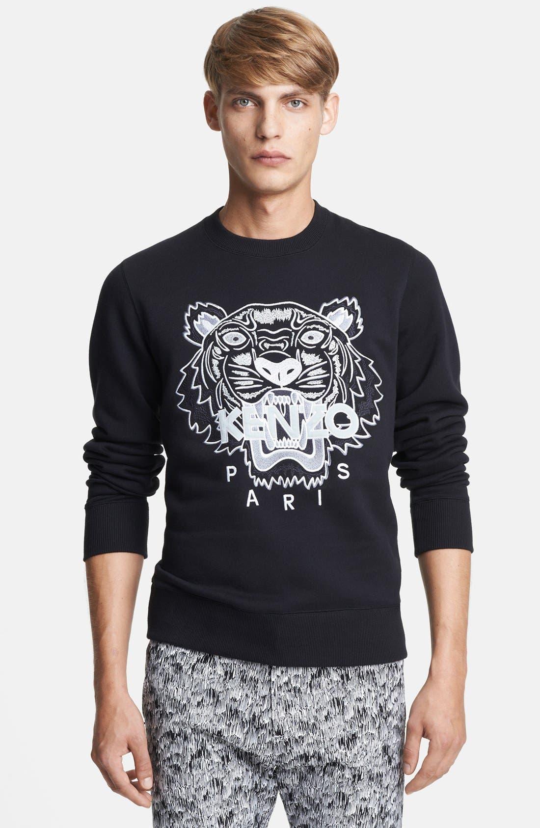 Alternate Image 1 Selected - KENZO Tiger Logo Embroidered Crewneck Sweatshirt