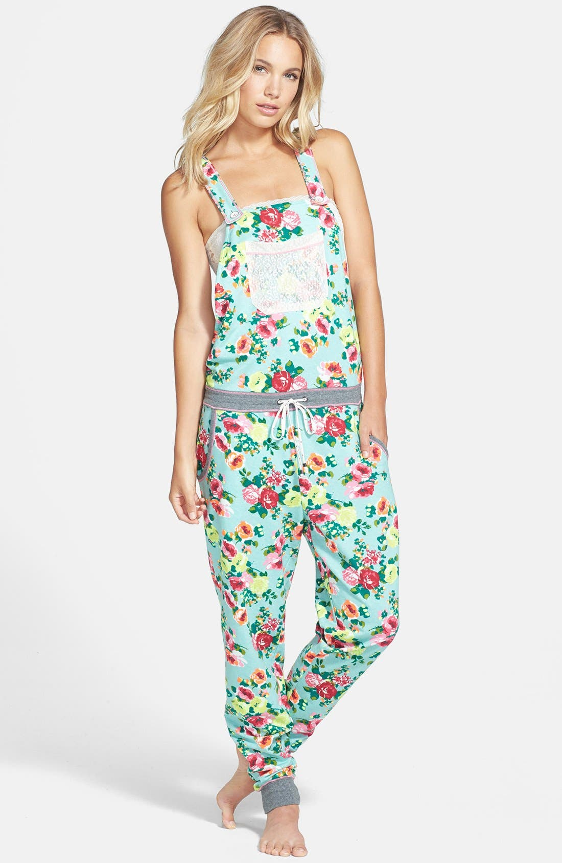 Main Image - kensie 'Rosy Outlook' French Terry Jumpsuit