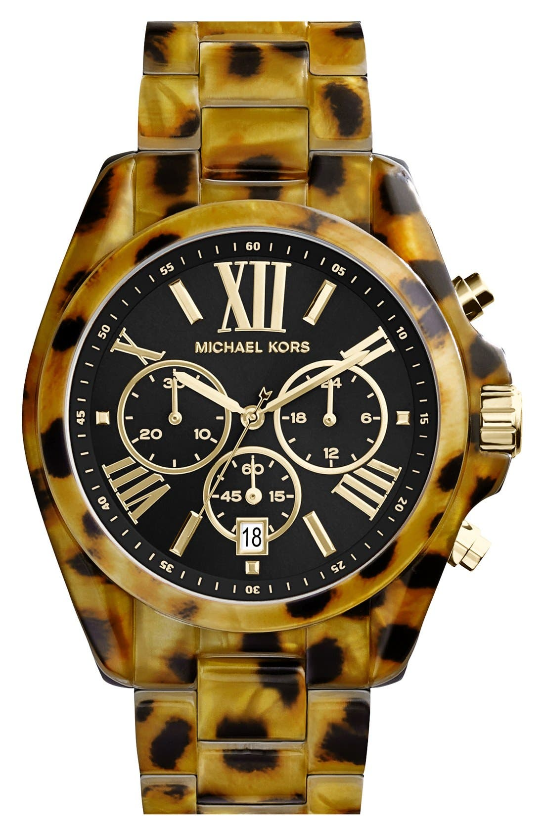 Main Image - Michael Kors 'Bradshaw' Chronograph Resin Bracelet Watch, 43mm