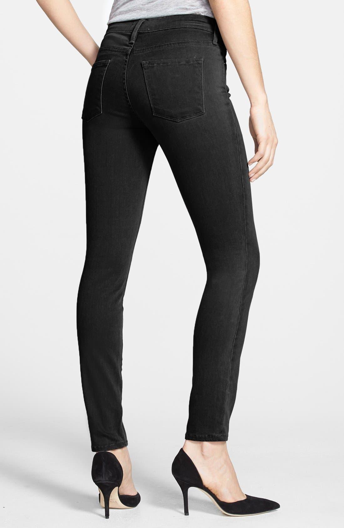 Alternate Image 2  - Frame Denim 'Le Luxe Noir' Skinny Jeans (Vian)