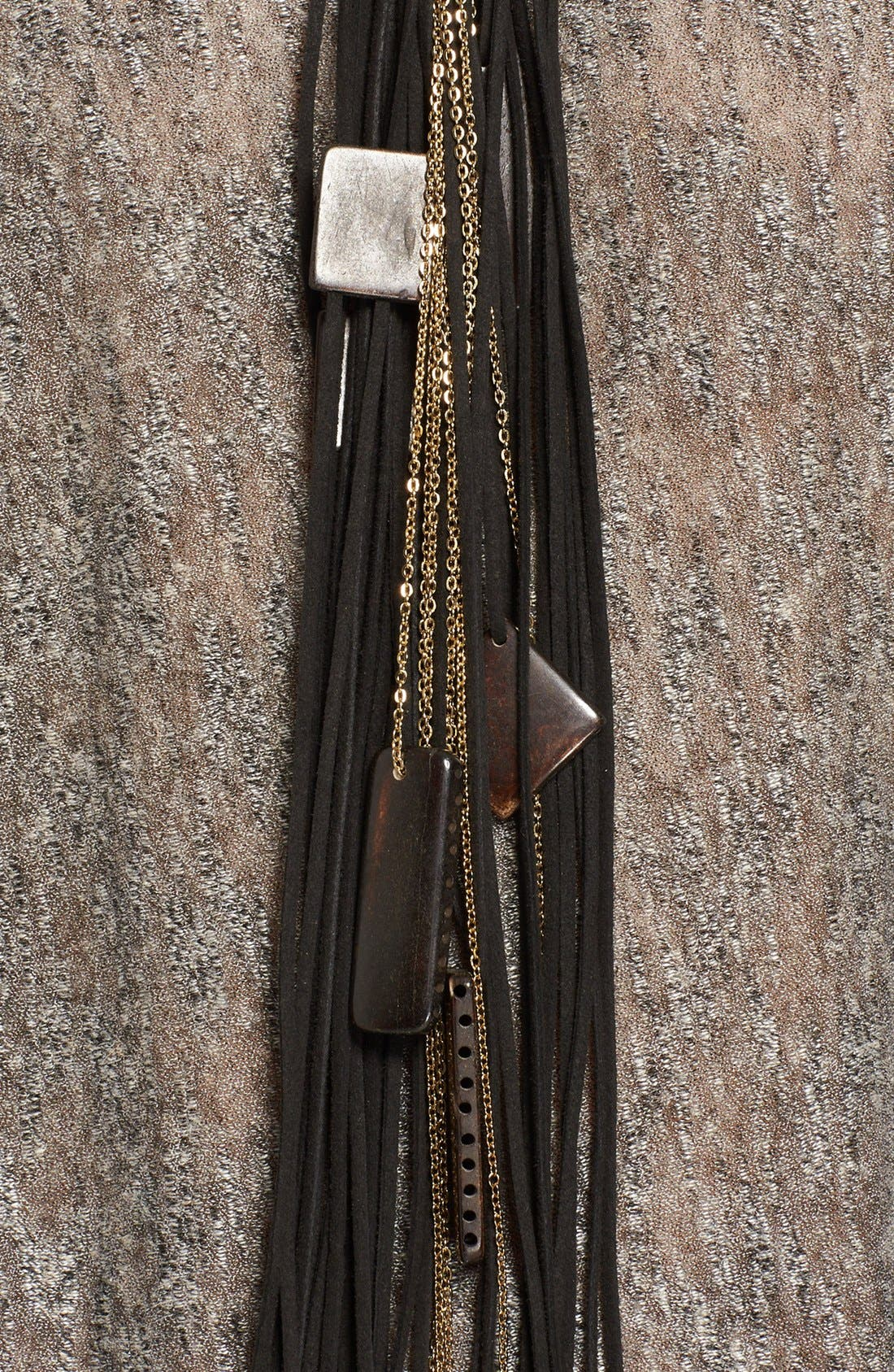 Alternate Image 2  - Donna Karan Beaded Leather Fringe Necklace