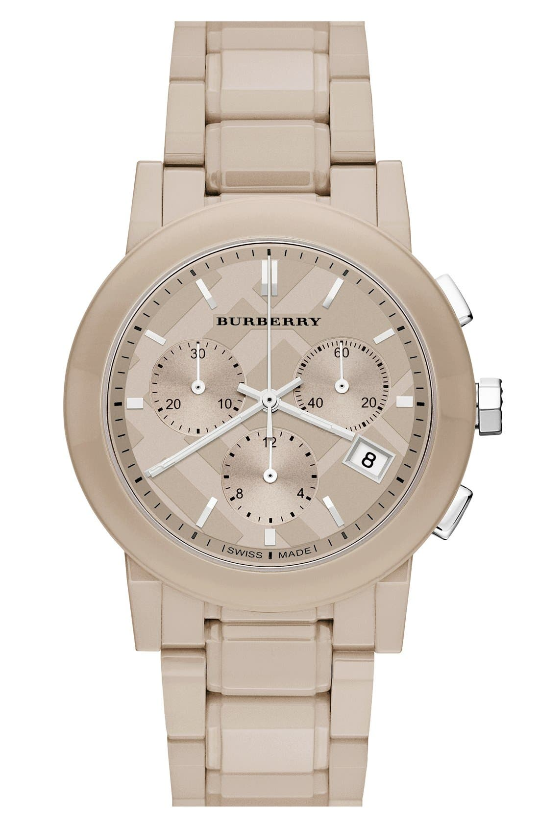 Alternate Image 1 Selected - Burberry Check Stamped Chronograph Ceramic Bracelet Watch, 38mm