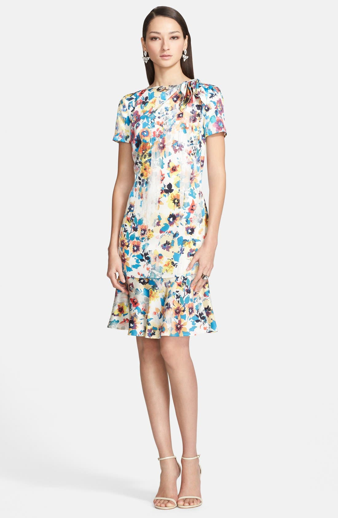 Main Image - St. John Collection Pansy Print Stretch Silk Charmeuse Dress
