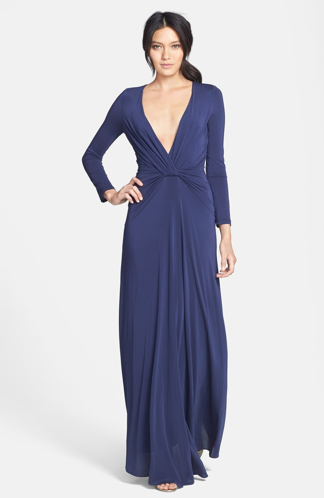 Main Image - Halston Heritage Knotted V-Neck Jersey Gown