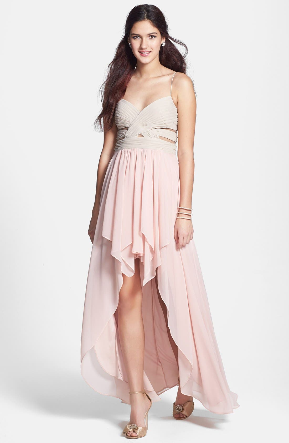 Main Image - Hailey Logan Cutout High/Low Gown (Juniors) (Online Only)