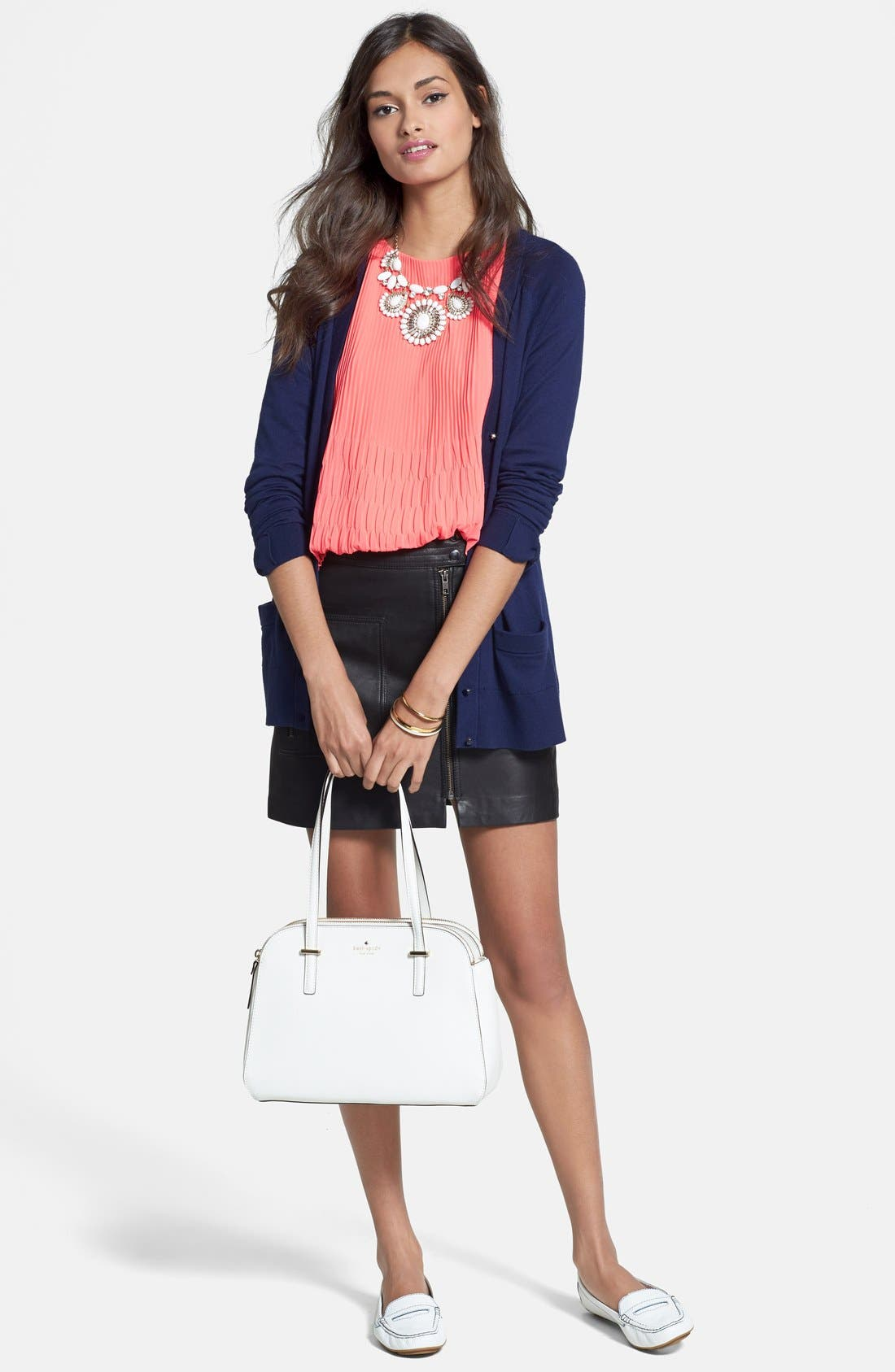 Alternate Image 1 Selected - kate spade new york cardigan, Ted Baker London Top & Joie Bermuda Shorts