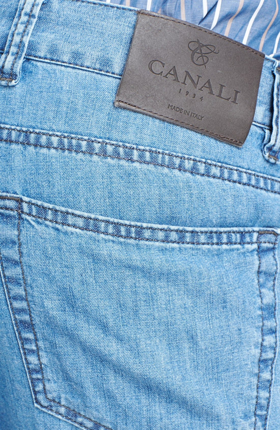 Alternate Image 3  - Canali Regular Fit Italian Jeans (Blue)