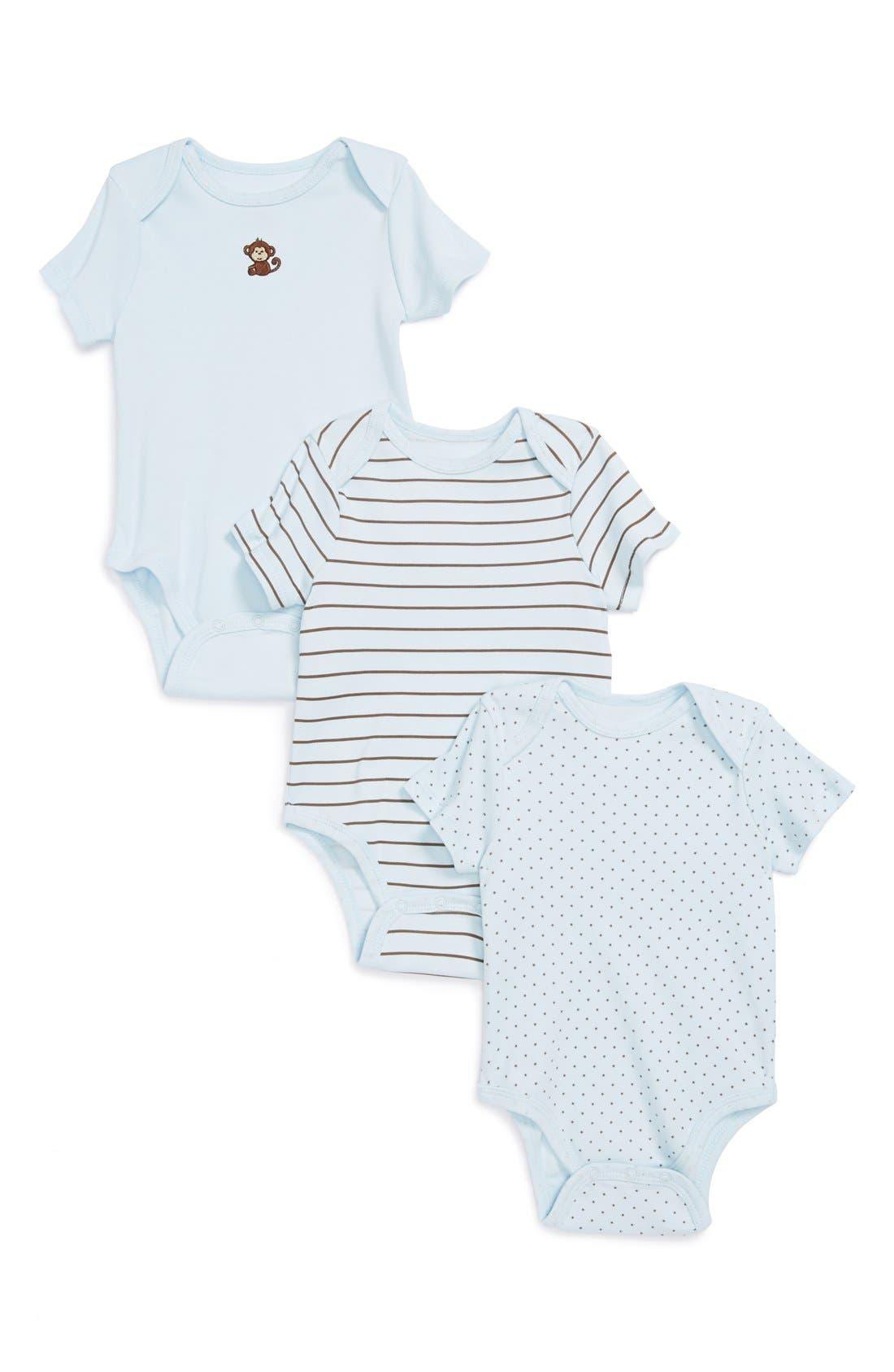 Alternate Image 1 Selected - Little Me 'Monkey' Bodysuits (Set of 3) (Baby Boys)