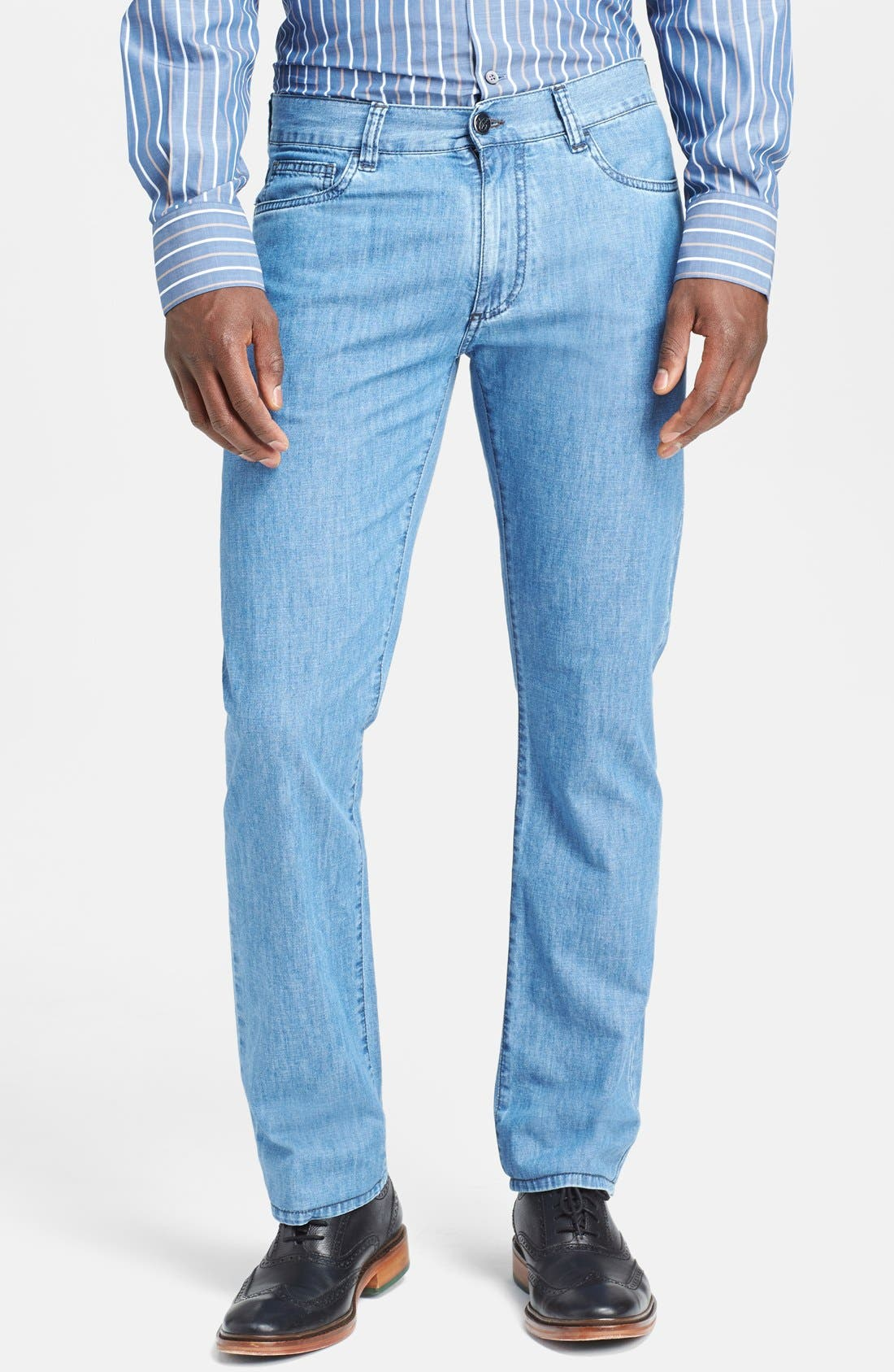 Alternate Image 1 Selected - Canali Regular Fit Italian Jeans (Blue)