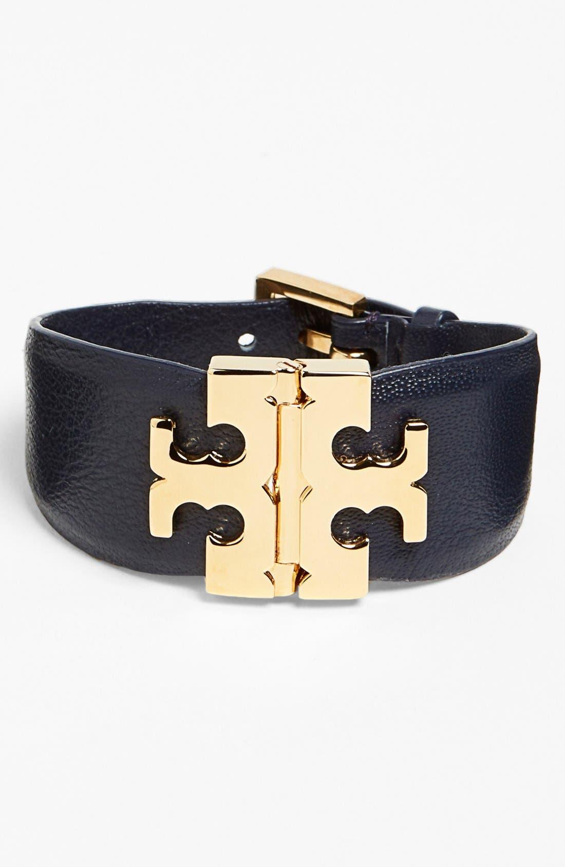 Alternate Image 1 Selected - Tory Burch Wide T-Hinge Leather Bracelet