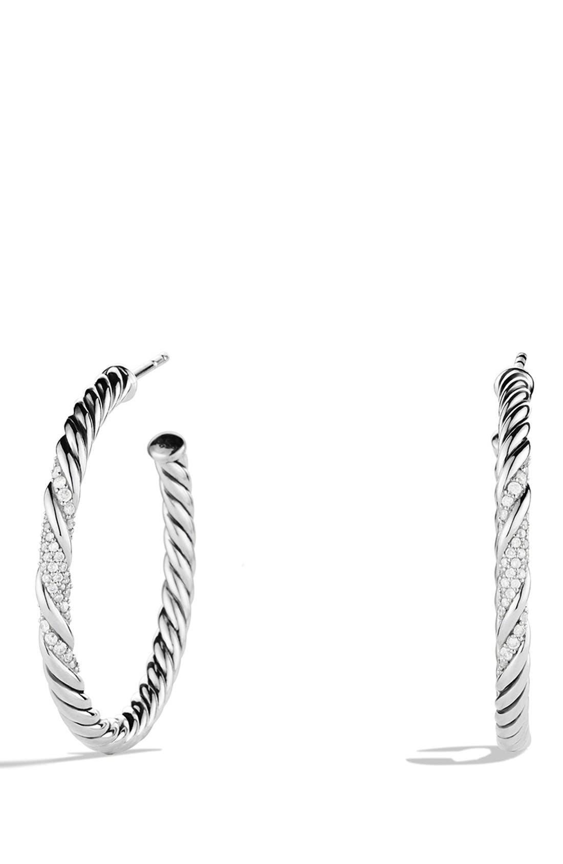 Alternate Image 1 Selected - David Yurman 'Willow' Medium Hoop Earrings with Diamonds
