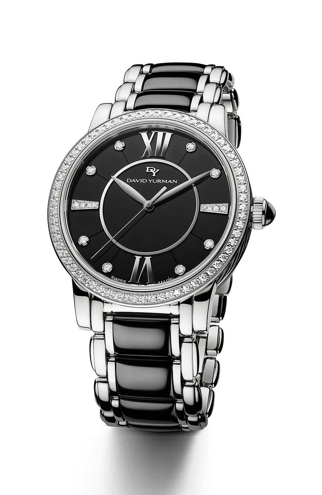 Alternate Image 1 Selected - David Yurman 'Classic' 38mm Stainless Steel Quartz with Black Ceramic and Diamond Bezel