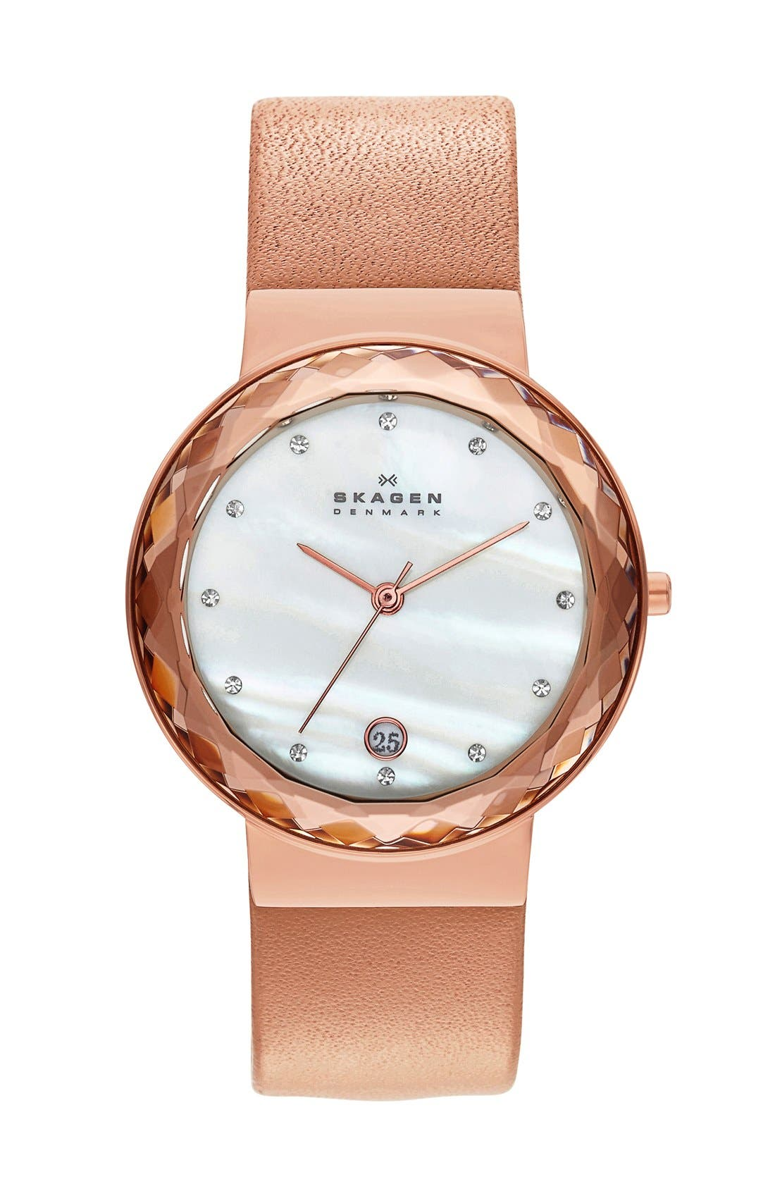 Alternate Image 1 Selected - Skagen Faceted Glass Bezel Leather Strap Watch, 34mm