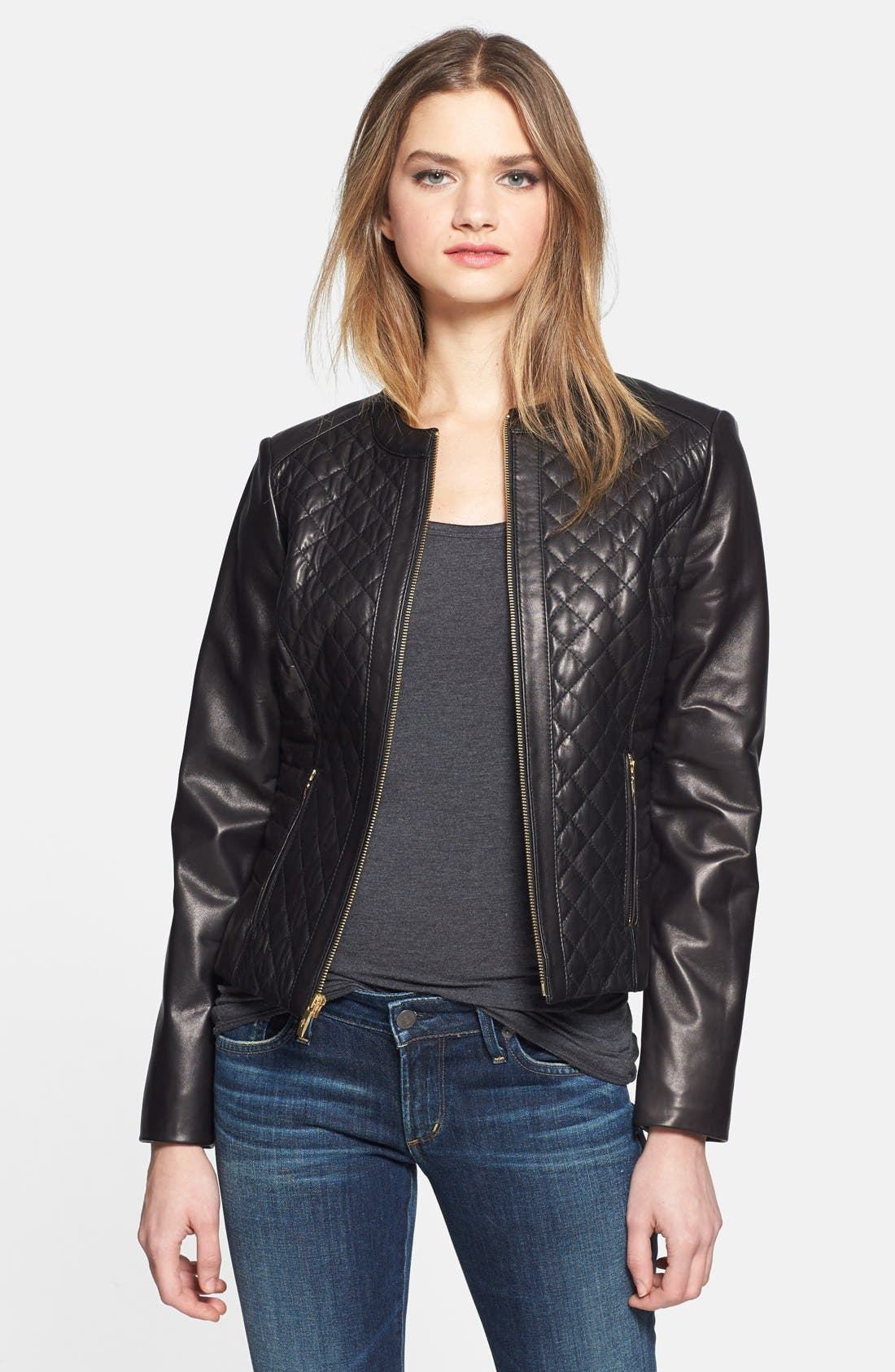 Alternate Image 1 Selected - Cole Haan Quilted & Smooth Leather Jacket