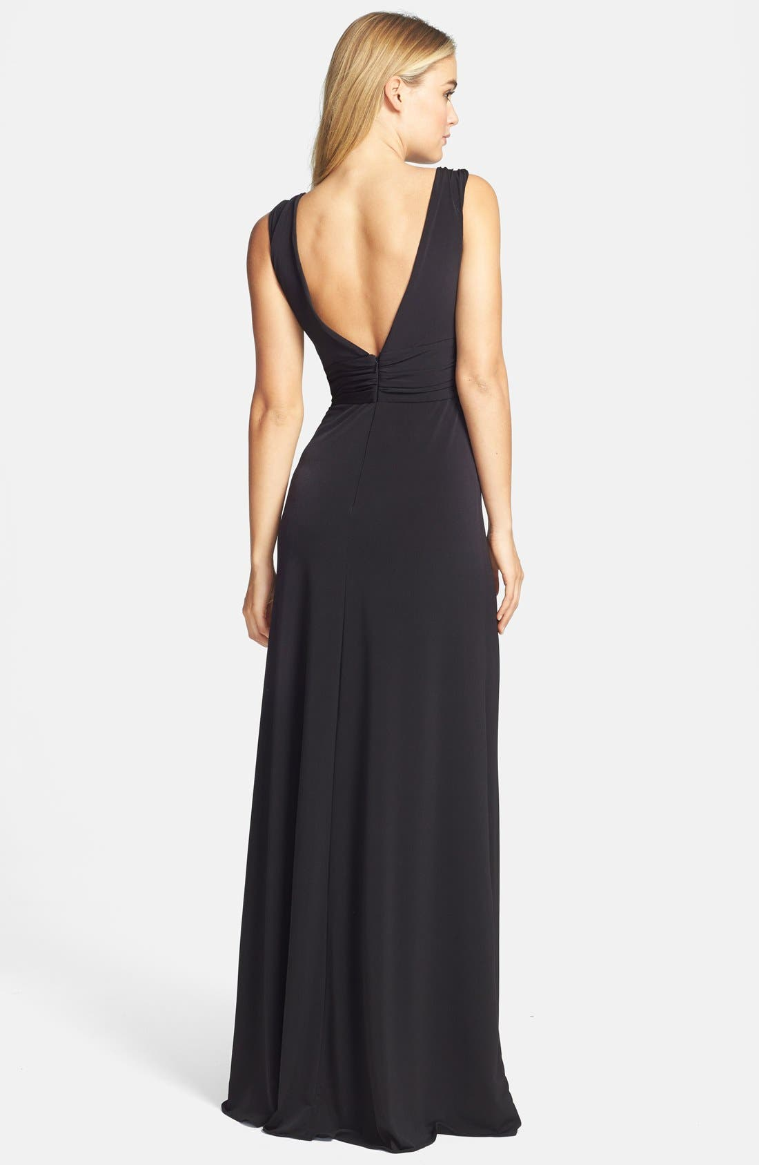 Alternate Image 2  - Amsale Draped Neck Jersey Gown