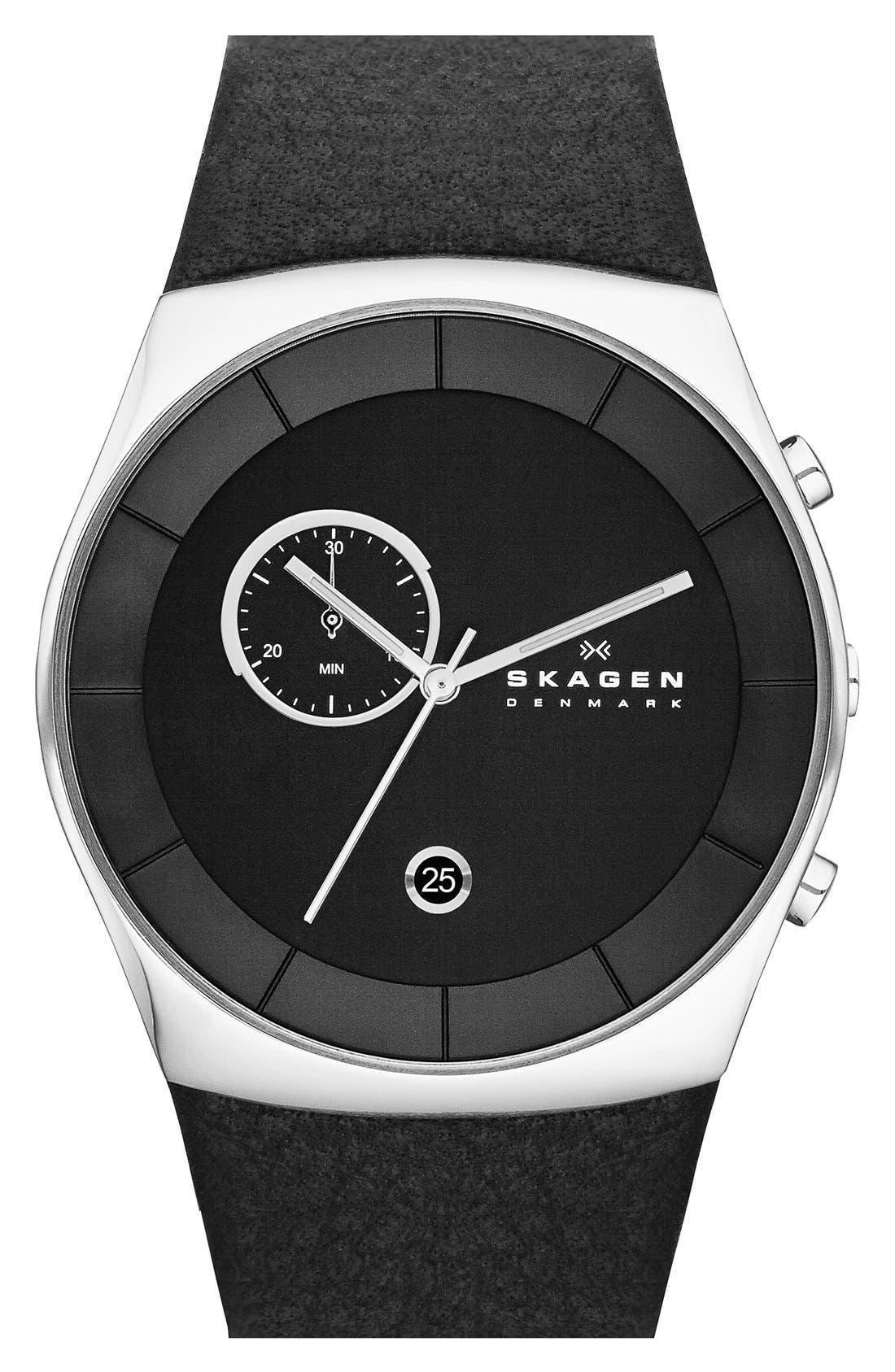 Alternate Image 1 Selected - Skagen 'Havene' Chronograph Leather Strap Watch, 42mm