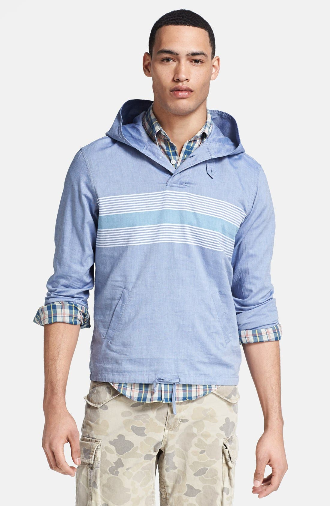 Main Image - Gant by Michael Bastian Chest Stripe Hooded Pullover Shirt
