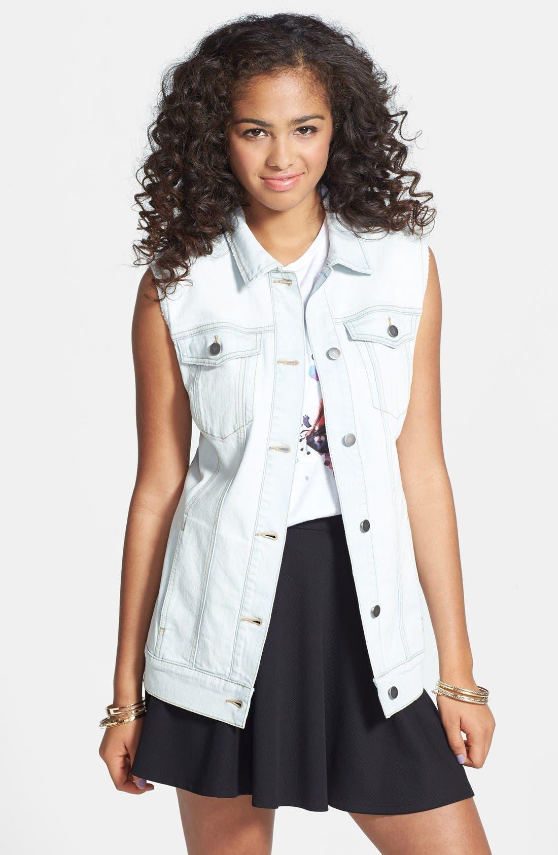Main Image - BP. Oversized Denim Vest (Juniors)