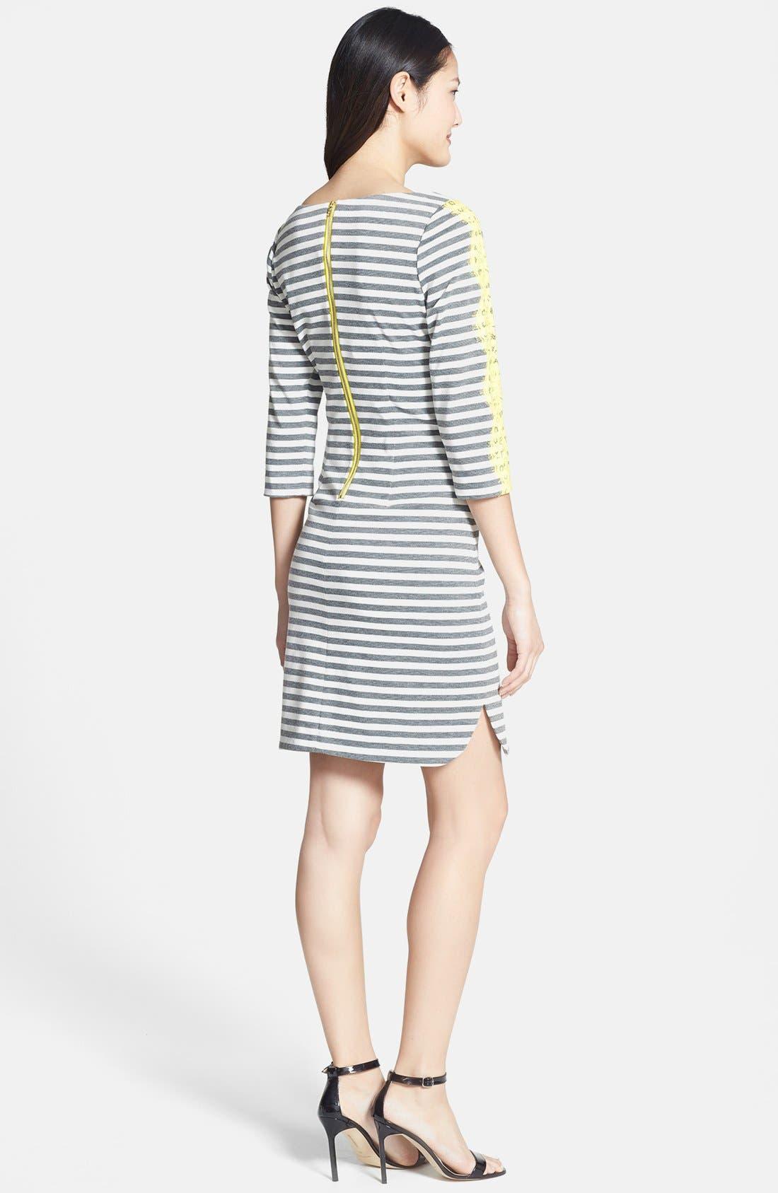 Alternate Image 3  - Eliza J Lace Detail Stripe Ponte Knit Shirttail Dress (Regular & Petite)