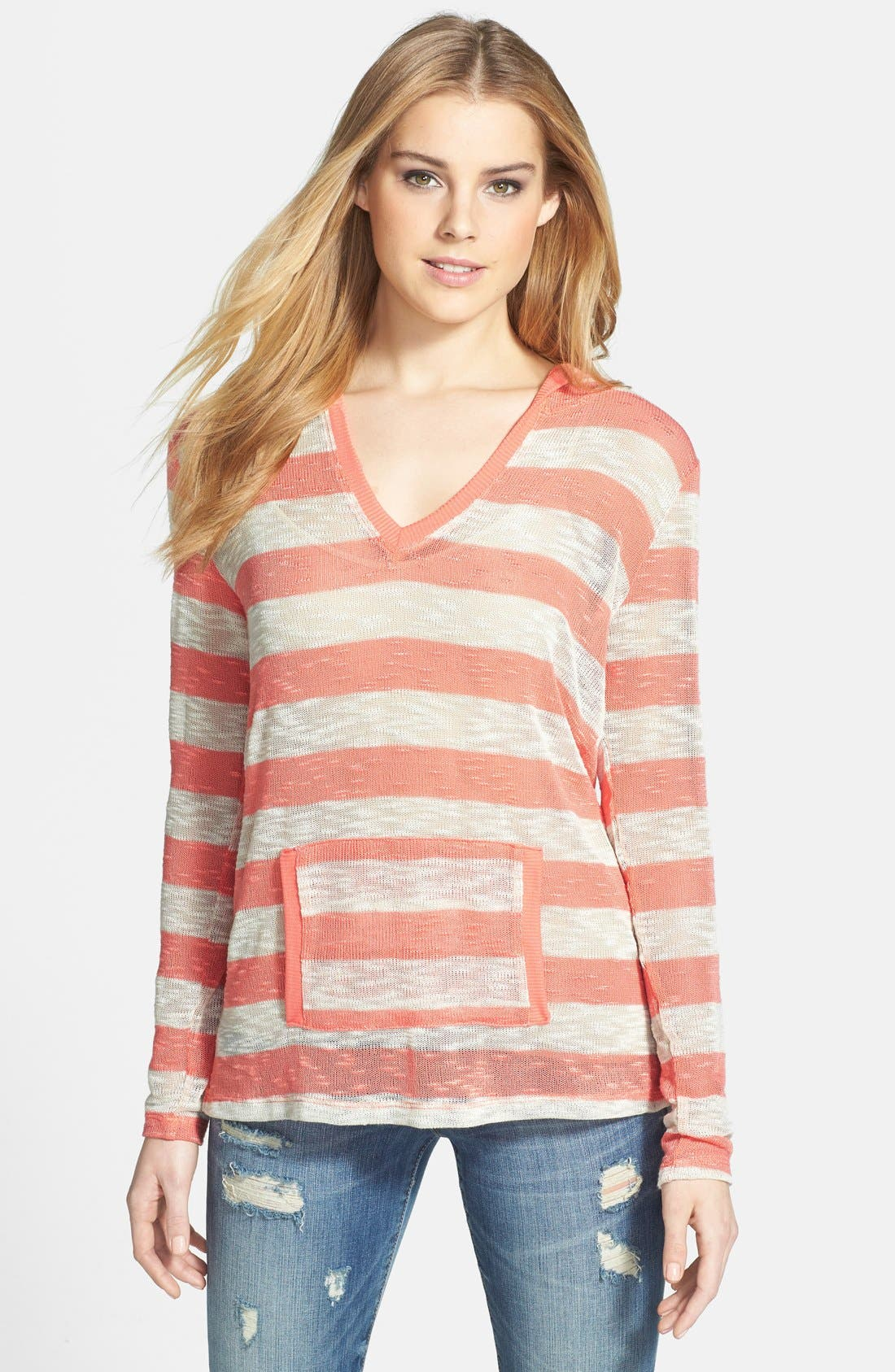 Alternate Image 1 Selected - Bobeau Stripe Hoodie Pullover