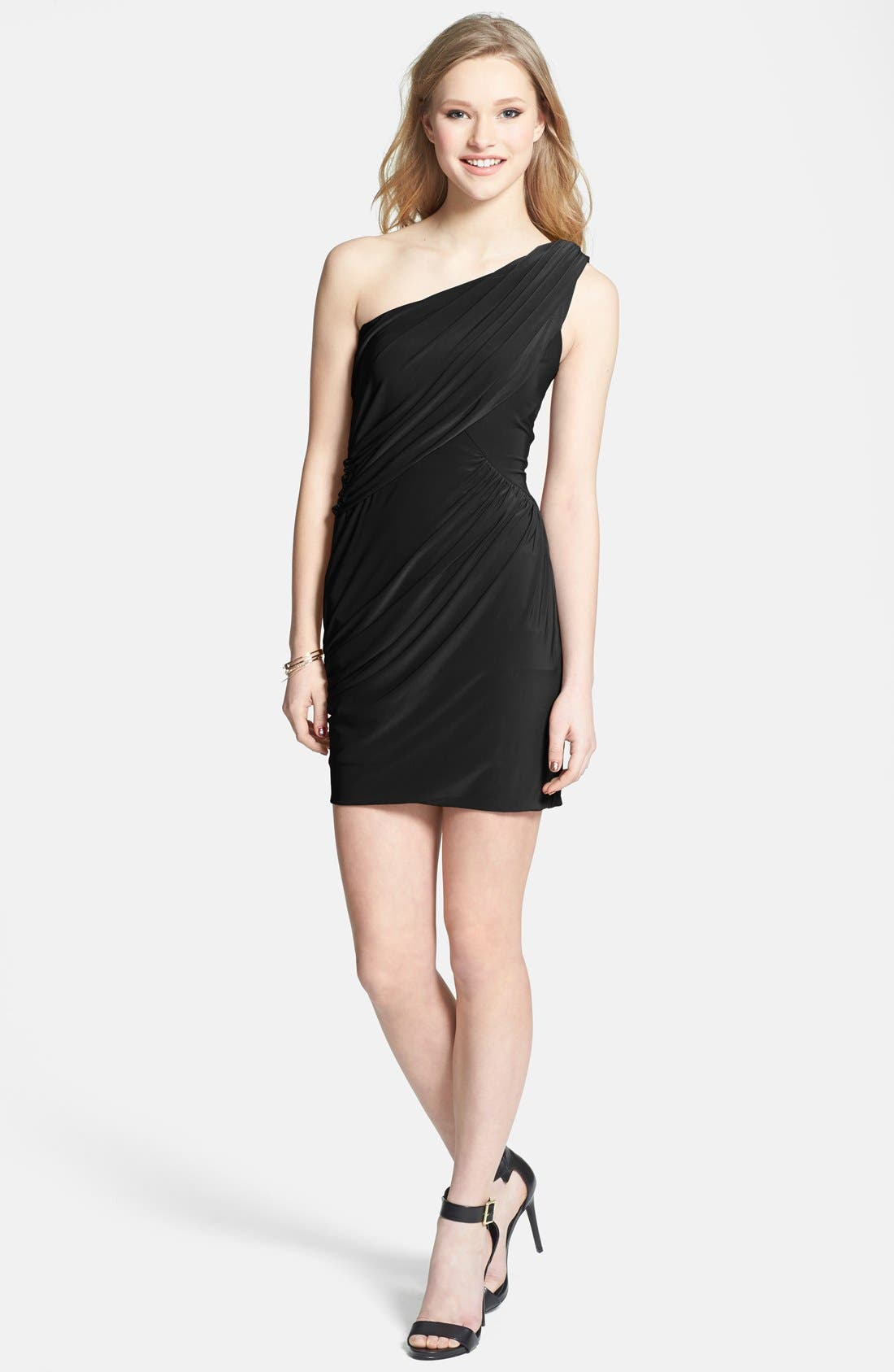 Main Image - Soprano One Shoulder Draped Dress (Juniors)
