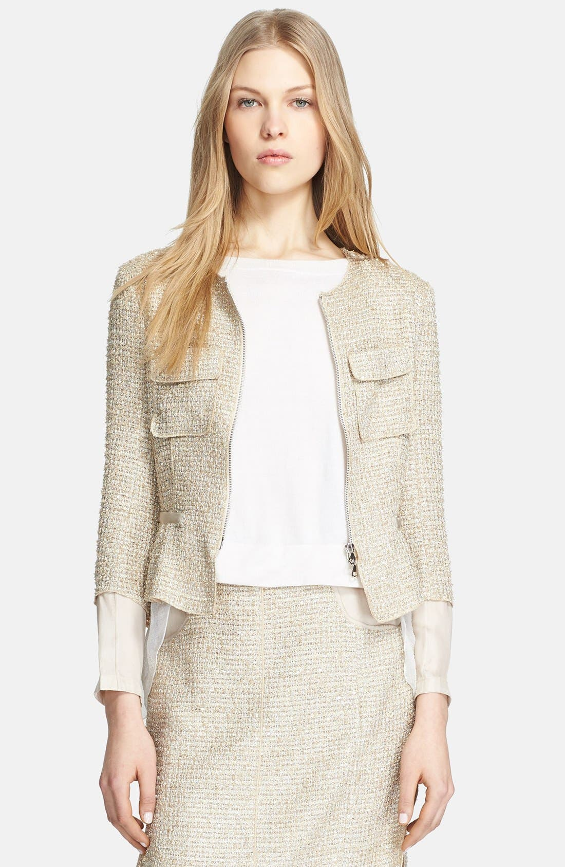 Alternate Image 1 Selected - Nina Ricci Contrast Back Tweed Jacket