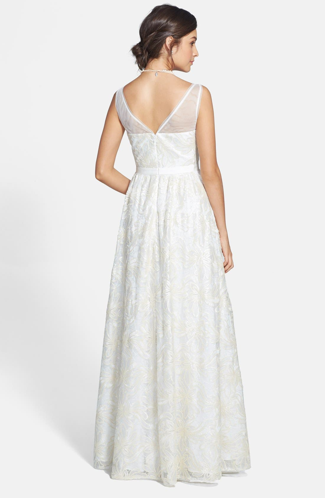 Alternate Image 2  - Adrianna Papell Faux Leather Sequin Lace Gown