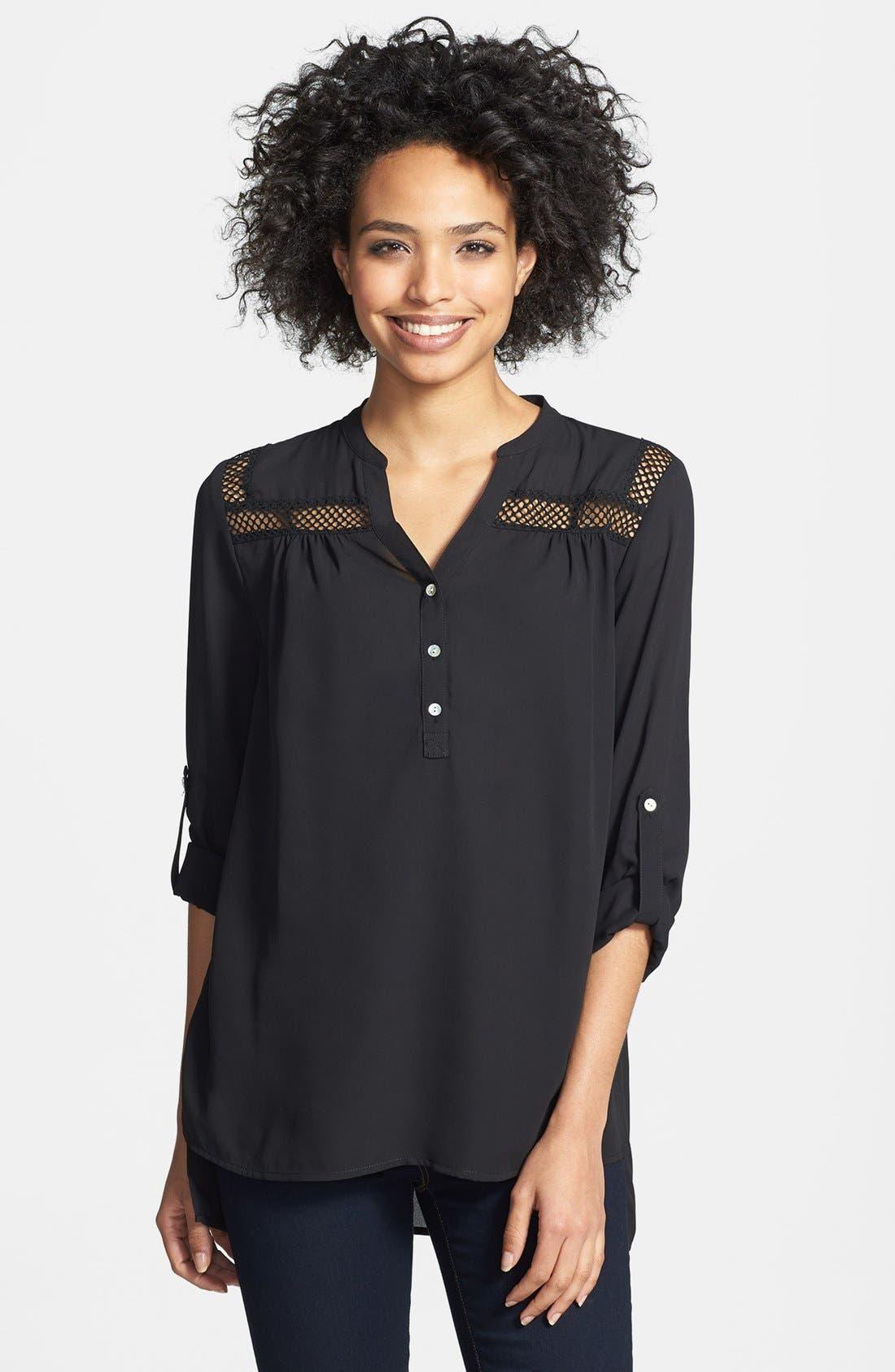 Alternate Image 1 Selected - Sunday in Brooklyn Crochet Trim Roll-Tab Sleeve Shirt (Petite)