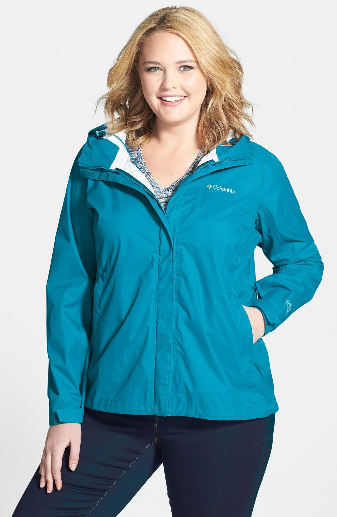 Alternate Image 1 Selected - Columbia Sportswear Company® 'Reign Stopper' Waterproof Jacket (Plus Size)