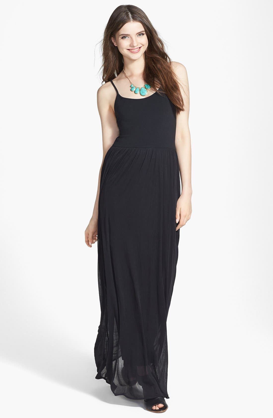 Alternate Image 1 Selected - Frenchi® V-Strap Maxi Dress (Juniors)