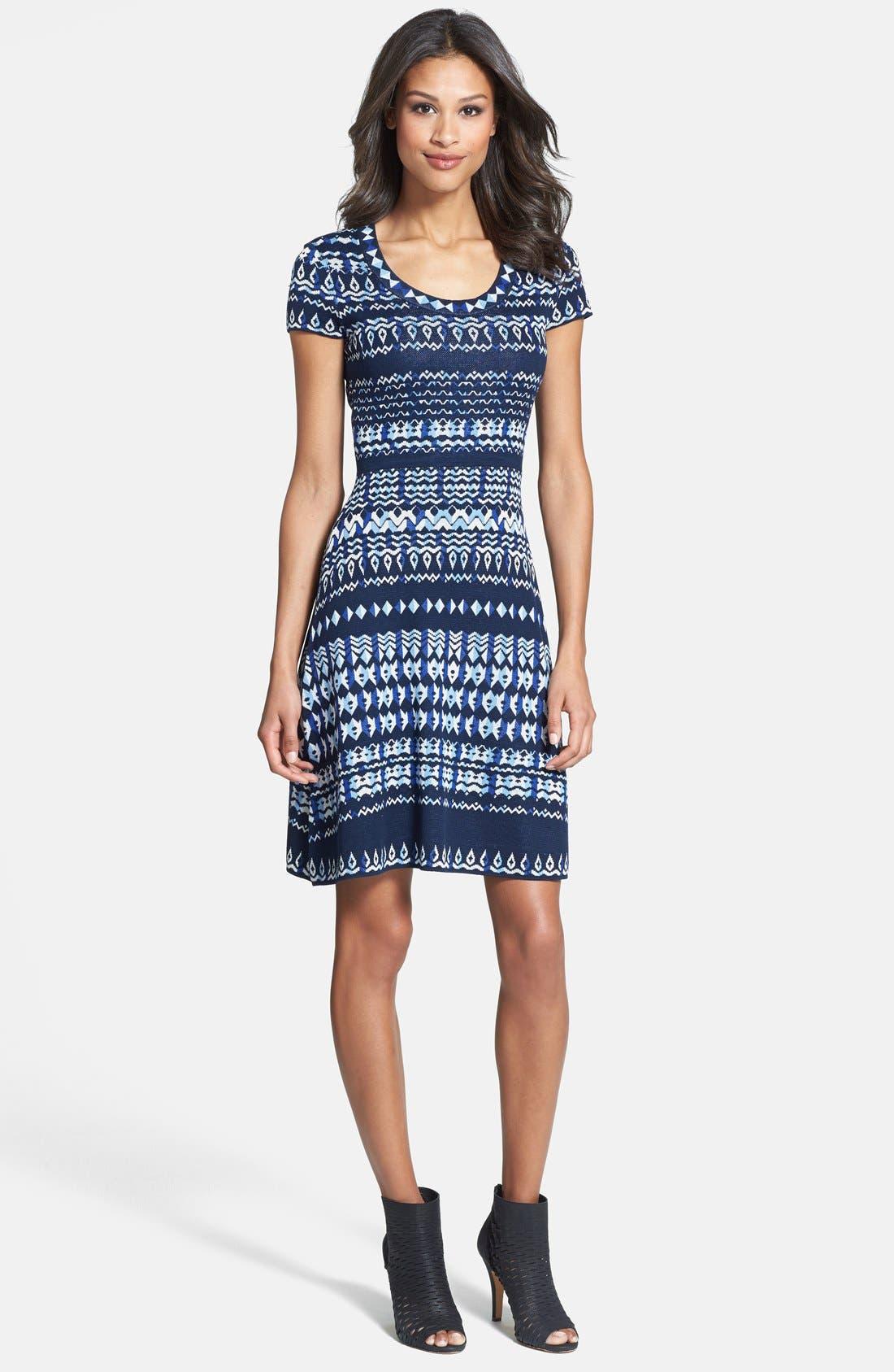 Main Image - BCBGMAXAZRIA Cap Sleeve Intarsia Knit Sweater Dress (Regular & Petite)